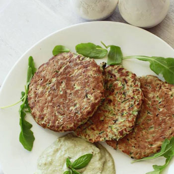 Zucchini Fritters with Vegan Basil Cream