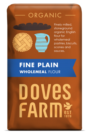 Doves Farm Organic Fine Plain English Wholemeal Flour 1 kilo
