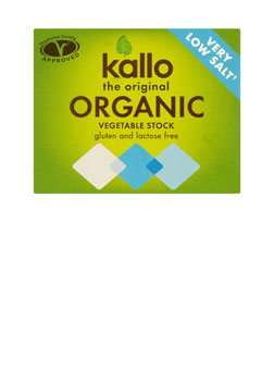 Kallo Stock Cubes Organic Vegetable Very Low Salt 66g