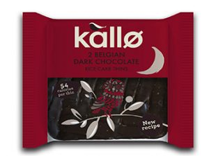 Kallo 2 Belgian Dark Chocolate Organic Rice Cakes 22.5g