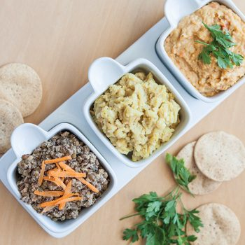 3 DIPS: Favetta beans and cashew nut dip / Crushed puy lentils with tahini and cumin / Red Pepper Hummus