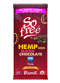 So Free No Added Sugar Hemp Dark Chocolate 70g