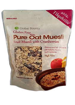 Global Bounty Gluten Free Pure Oat Muesli with Cranberries 425g