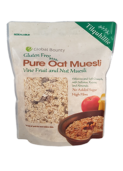 Global Bounty Gluten Free Pure Oat Muesli with Vine Fruits & Nuts 425g