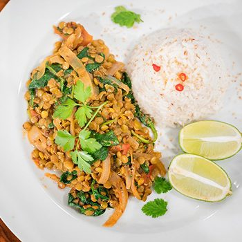 TV Chef Manuel Aquilina's Lentil & Spinach Curry with Coconut Jasmine Rice
