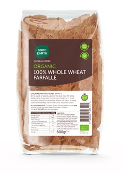 Good Earth Organic Wholewheat Farfalle 500g