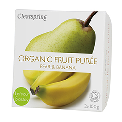Clearspring Organic Fruit Puree – Pear & Banana 2x100g