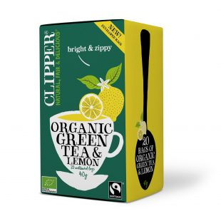 Clipper Organic Green Tea with Lemon 20 individual envelopes