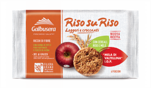 Galbusera Riso su Riso Biscuits with Cereal and Apple 380g