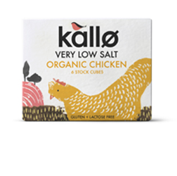 Kallo Stock Cubes Organic Chicken Very Low Salt 48g