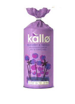 Kallo Blueberry & Vanilla Wholegrain Low Fat Rice & Corn Cakes 120g