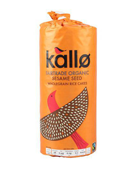 Kallo Fair Trade Organic Sesame Seed Thick Rice Cakes 130g