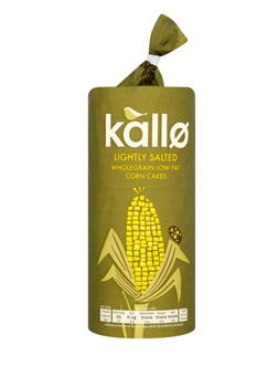 Kallo Organic Lightly Salted Wholegrain Low Fat Corn Cakes Thins 130g