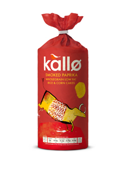 Kallo Smoked Paprika Wholegrain Low Fat Rice & Corn Cakes 130g