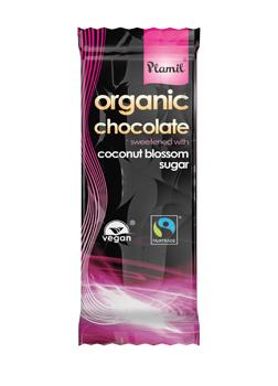 Plamil Organic Fairtrade Chocolate Sweetened with Coconut Blossom Sugar Bar 100g