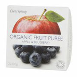 Clearspring Organic Fruit Puree Apple & Blueberry 2x100g